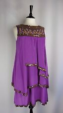 - Monsoon Size 12 Formal Dress Silk Purple Gold Embroidery Sequined Tiered