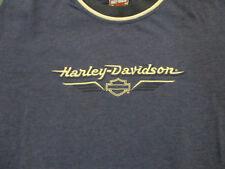 M navy blue HARLEY DAVIDSON ringer t-shirt - black ring / white trim