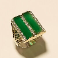 Natural Zambian Emerald Ring 925 Sterling Silver Turkish Two Tone Fine Jewelry