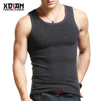New Mens Vest Sleeveless Velour Athletic Single Gym T-Shirt Tank Top Wife Beater