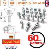 Car Alloy Wheel bolts nuts lugs M14x1.5 25mm Thread taper for VW Set of 20
