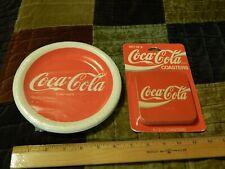 Coca-Cola {LOT} 7'' (15) Paper Plates + (6) Cork Btm Coasters {NOS} Vtg Coke Ltd