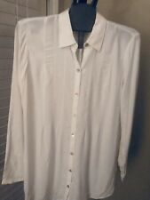 NWT J JILL blouse XS cream tunic length polyester top