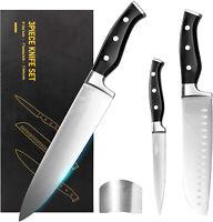 3 PCS Chef Knife Ultra Sharp Kitchen Knife Set Premium German Stainless Steel
