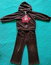 Baby Gap Toddler Girl Velour Active Outfit Pants Zip Hoodie Hooded Brown 3T