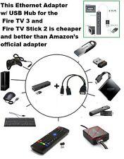 3 PORT USB HUB LAN Ethernet connector & OTG adapter for Amazon Fire (Gen 2 3 &4)