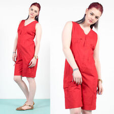 7df11617d86 WOMENS VINTAGE 80 S BRIGHT RED ZIP FASTEN 3 4 LENGTH PLAYSUIT ROMPER BEACH  14