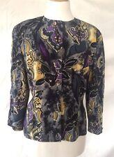 Vintage 1980s Windsmoor Floral Patterned Blouse Black Grey Purple Gold Size 10