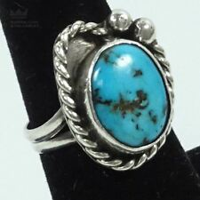 Turquoise Ring, Sz. 7.5 Sterling Silver Cable Design Round