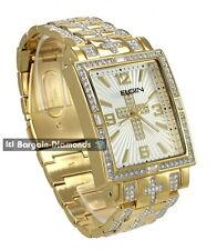 mens Elgin big gold tone ice out cross clubbing watch bracelet