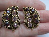 Vintage Amethyst Tone Glass Flower Leaf Gold Tone Metal Clip On Earrings