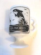 Vintage Milk Glass Sea World Mug - SHAMU - DOLPHINS