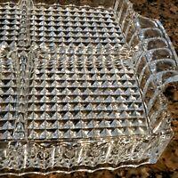"Vtg ABP American Brilliant Diamond Point Cut Crystal Divided Serving Dish 10x8"""