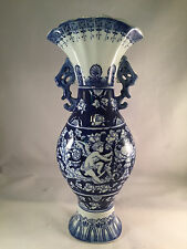 "Large 15"" Tall Cobalt Blue & White Fine Porcelain Fan Top Urn Vase Cherubs"