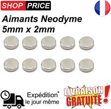Lot 10 Aimants Frigo Neodyme Neodium Rond Fort Strong Magnet 5 mm x 2 mm (NEUF).