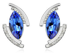 Amazing Silver & Royal Blue Angel Eye Tear Stud Earrings E632
