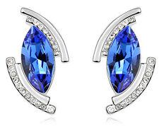 AMAZING Argento & Royal Blue Angel Eye Goccia Orecchini E632
