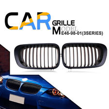 2x Matte Black Front Kidney Grill Grille Fit BMW E46 M3 325Ci 330Ci 328 3 Series