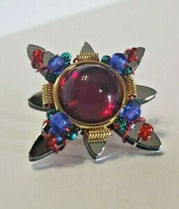 Liztech Signed Dated 99 Brooch Pin Mirrored W Beads Beautiful STAR SNOWFLAKE VTG