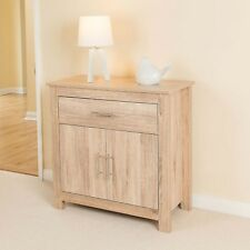 Christow Oak Effect 2 Door 1 Drawer Wooden Storage Cabinet Sideboard Unit