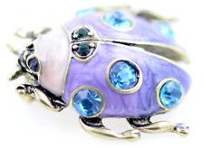 Vintage style enamel ladybug ladybird brooch / pin with crystal