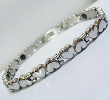 Stainless Steel Magnetic Bracelet Bio Health Therapy Ladies Puffy LOVE HEARTS SV