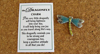 "DRAGONFLY Pocket Charm Token, Insert Card Included - Tiny Dragonfly is .75""L"