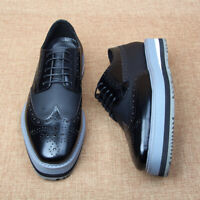 Brogue Men's 100% Real Leather Lace Up Wing Tip Casual Carving Platform Shoes SZ