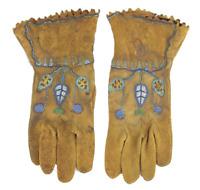 American Indian Buckskin Gloves Rare Beadwork Late 1800's