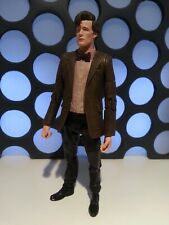 """11TH DOCTOR WHO RED STRIPED & BOW TIE SHIRT BROWN JACKET MATT SMITH 5"""" FIGURE"""