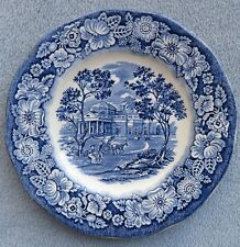 SIX Staffordshire Liberty Blue Bread Plates England