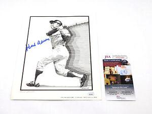Hank Aaron Signed 8.5 x 11 B & W Print Braves JSA Auto DA043850