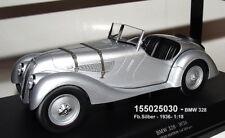 """MINICHAMPS 155025030 -   BMW 328 Cabrio Baujahr 1936 in """" silber metallic"""" 1:18"""