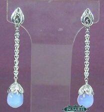 14k White Gold Diamond & Opaline Designer Earrings