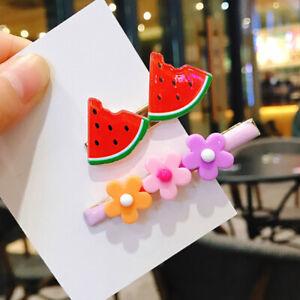 2Pcs/Set Cute Fruit Petals Hair Clip Fashion Acrylic Floral Alloy Barrettes
