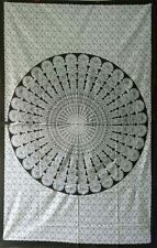Indian Peacock Mandala White Cotton Twin Tapestry Bedspread Wall Hanging Hippee