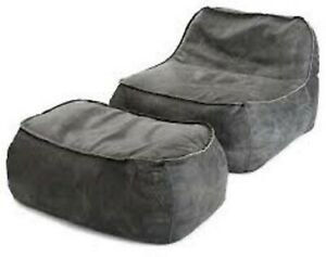 Luxuries Bean Bag Cover Leather suede with Lounge Ottoman XXXL Without Beans