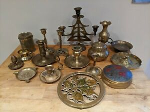 JOB LOT Vintage Antique Brass Chambersticks, Vase, Boxes Job Lot Used for Repair