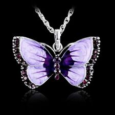 Retro Purple Butterfly Crystal Pendant Necklace Women's Sweater Chain Gifts