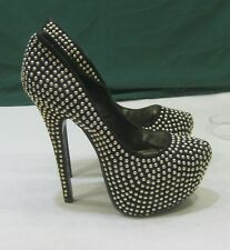 "new Black Gold Stud 6""High Heel L.2""Hidden Platform Sexy Shoes WOMEN Size  7"