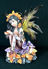 Fairy with Autumn colored Wings Among the Fall Mushrooms Fantasy,Mythical