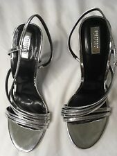 Forever 21 Women's Slingbacks High Heels Silver Party Shoes Metallic Size 10