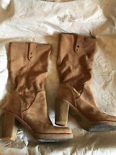 Ugg Josie Sz 9 Women's Tall Suede Cuff Over Boots High Heel 3214    -(mgr1/