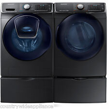 Samsung Black Stainless Washer Electric Dryer Pedestals WF50K7500AV DV50K7500EV