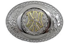 Fun Men Women Silver Metal Belt Buckle Gold NY New York City Oval Big Size Bling