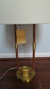 NWT RALPH LAUREN Katie Time Worn Saddle LEATHER & BRASS Table Desk LAMP Rare!