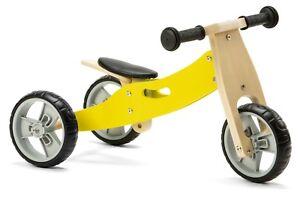 Nicko NIC804 Yellow Mini Convertible Wooden Balance Bike Toddler Trike 18months+