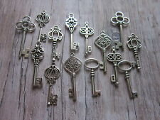 14 antiqued silver tone skeleton keys wedding vintage style  pendants charms mix