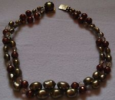 Two Row Beads Necklace Vintage 1960 Coloured Glass
