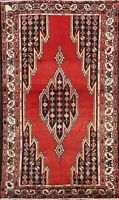 Geometric Semi Antique Hamedan Area Rug Traditional Hand-knotted Wool Carpet 4x7